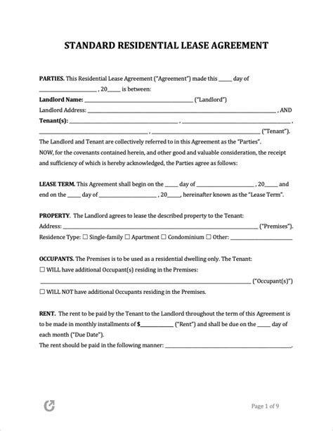 Apartment Rental Agreement Template Word