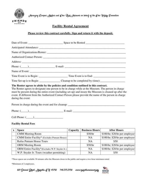 Facilities Rental Agreement Template