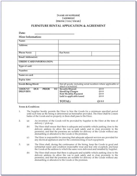 Furniture Rental Agreement Template