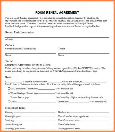 Informal Rental Agreement Template