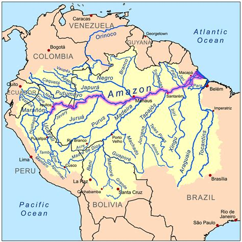 Map Of Amazon River In South America