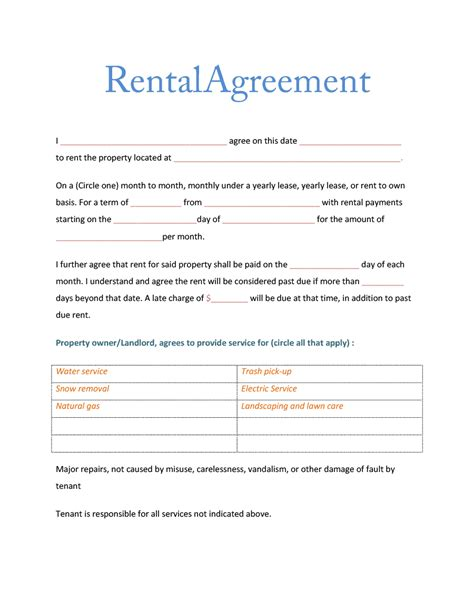 Rental Room Agreement Template