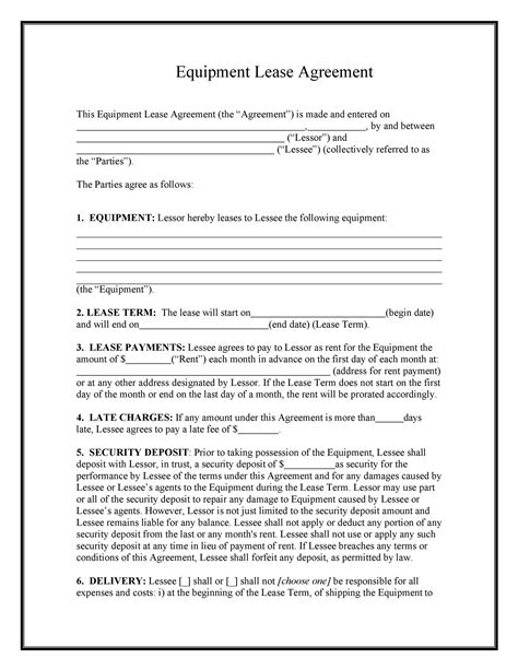 Tool Rental Agreement Template