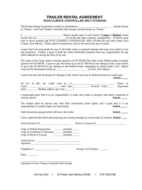 Trailer Rental Agreement Template